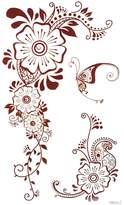 Body tattoo dimension 6.69x3.74 color flowers and butterflies India and Middle Estern style fake temporary tattoo stickers by InterRookie