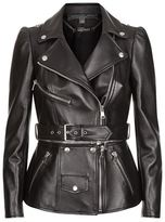 Alexander McQueen Zip Detail Leather Biker Jacket