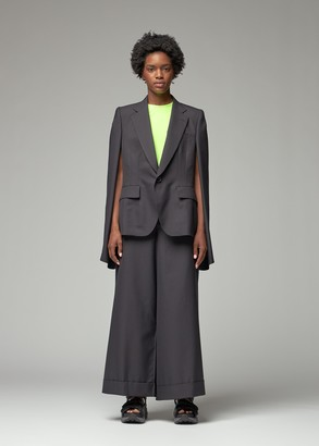 Junya Watanabe Women's Pinstripe Wool Suit Cape in Navy/Beige Size 1 Polyester/Wool/Cupro Trim