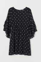 H&M Trumpet-sleeved Dress - Black