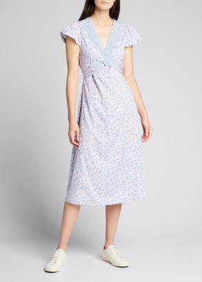 LoveShackFancy Minuet Cross-Front Midi Dress with Lace