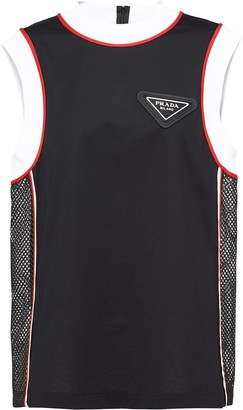 Prada logo-plaque sleeveless T-shirt