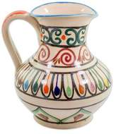 Handcrafted Colorful Ceramic Pitcher by Guatemalan Artisans, 'Traditional Refreshment'