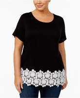 INC International Concepts Plus Size Crocheted-Trim Top, Created for Macy's