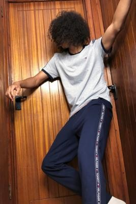 Tommy Hilfiger Navy Taped Lounge Track Pants - Blue S at Urban Outfitters