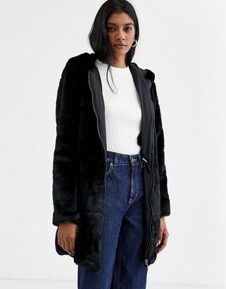 Only fur hooded coat-Black