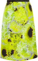 Tibi Athena neon silk, linen and cotton-blend skirt