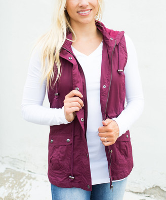 Olivia & Jane Women's Outerwear Vests Wine - Wine Lined Front-Snap Cargo Vest - Women & Plus