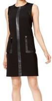 Calvin Klein Black Women's Size 8 Sheath Faux Leather Trim Dress