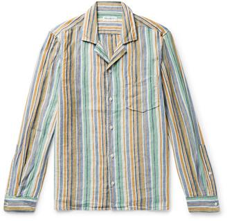 President's Camp-Collar Striped Solbiati Linen Shirt