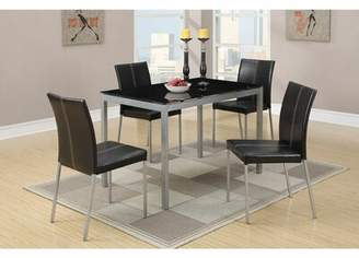 Latitude Run Metal Dining Table With Black Glass Top And 4 Chairs, Multicolor Latitude Run
