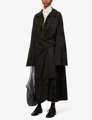 aganovich Floral-print wrap-over jacquard coat