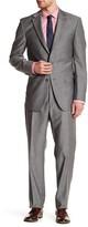 Ike Behar Positano Gray Sharkskin Two Button Notch Lapel Wool Suit