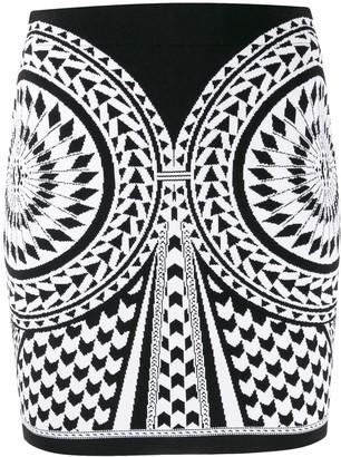 Balmain Graphic Pattern Mini Skirt