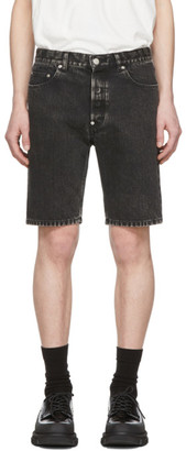 John Lawrence Sullivan Black Denim Bleached Shorts