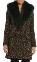 Women's Belle Badgley Mischka 'Holly' Faux Fur Collar Boucle Coat