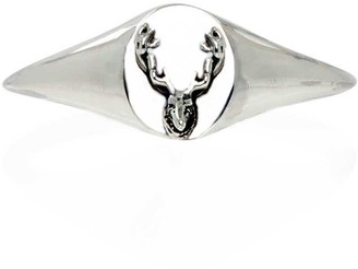 No 13 Reindeer Head Mini Signet Ring Silver