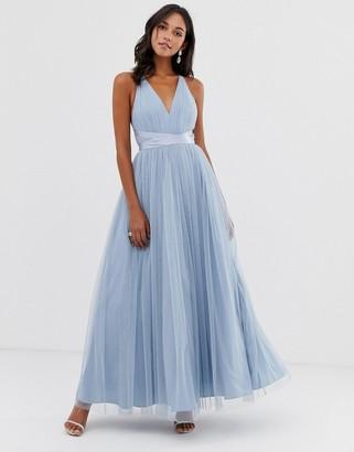 ASOS DESIGN Premium Tulle Maxi Prom Dress With Ribbon Ties