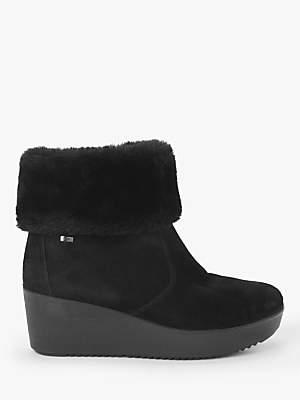 John Lewis & Partners Designed for Comfort Primina Suede Fur Cuff Ankle Boots, Black