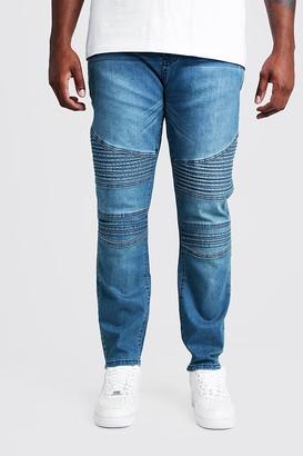 boohoo Mens Blue Plus Size Skinny Fit Jean With Biker Detail, Blue