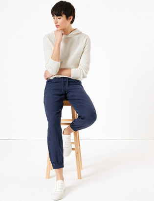 Marks and Spencer Linen Tapered Ankle Grazer Trousers
