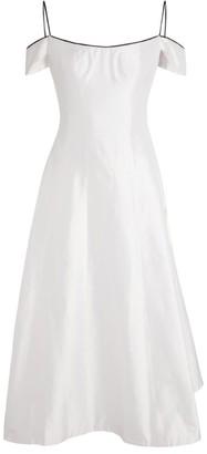 Rasario Silk Off-The-Shoulder Midi Dress