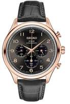Seiko Chronograph Stainless Steel Leather-Strap Watch