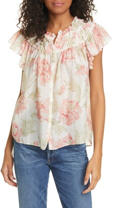 La Vie Rebecca Taylor Peonies Floral Print Cotton & Silk Top
