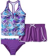 ZeroXposur Girls Plus Size Mesh Racerback Tankini Top, Bottoms & Dolphin Shorts Swimsuit Set