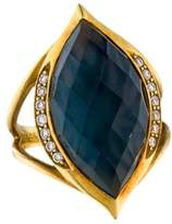 Elizabeth Showers 18K Topaz Doublet & Diamond Ring