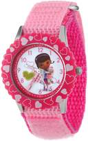 Disney Kids' W000910 Doc McStuffins Stainless Steel Printed Bezel Pink Nylon Strap Watch