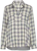 L'Agence Silk Crepe De Chine-Paneled Gingham Flannel Shirt