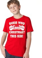 Crazy Dog T-shirts Crazy Dog Tshirts Youth Guess Who Loves Christmas T-Shirt Funny Holiday Shirt for Kids M