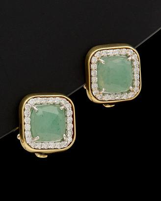 Italian Gold 14K 4.70 Ct. Tw. Diamond & Green Aventurine Clip Earrings