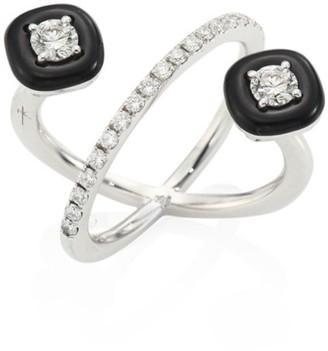 Nikos Koulis Oui Diamond, Enamel & 18K White Gold Ring
