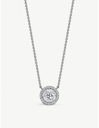 Vashi Halo platinum and 0.70ct diamond pendant necklace