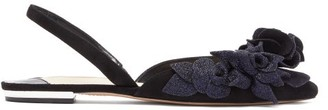 Sophia Webster Jumbo Lilico Floral-suede Slingback Flats - Womens - Black Navy