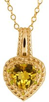 Gem Stone King 1.64 Ct Heart Shape Yellow Citrine and Diamond 14k Yellow Gold Pendant