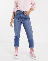 New Look waist enhance mom jeans in mid wash blue