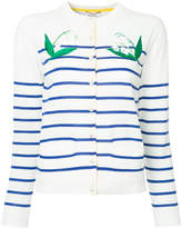 Muveil floral embroidered striped cardigan