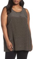 Eileen Fisher Plus Size Women's Print Silk Sleeveless Shell