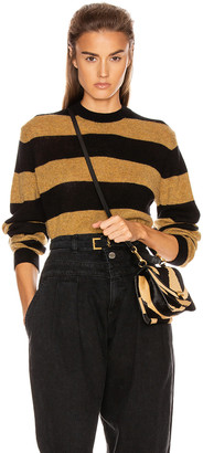 KHAITE Viola Crewneck Pullover Sweater in Black & Fawn Stripe | FWRD
