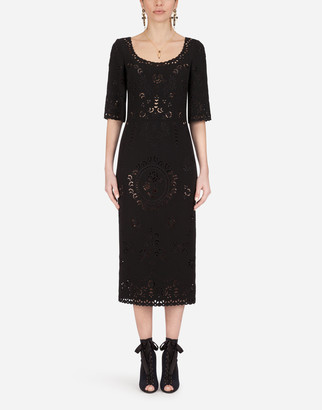 Dolce & Gabbana Short-Sleeved Cady Midi Dress With Intaglio Detailing
