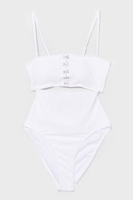 Nasty Gal Womens Hook and Eyelet You Win High-Leg Swimsuit - White