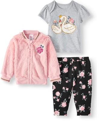 Minky Wonder Nation Baby Girl Bomber Jacket, T-Shirt, & Pants 3pc Outfit Set