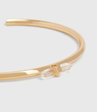 AllSaints Ella Gold Tone Semi-Precious Crystal Quartz Cuff Bracelet