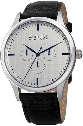 August Steiner Men's Genuine Leather Strap Watch