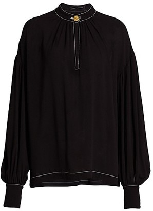 Proenza Schouler Silk Georgette Long Sleeve Keyhole Blouse