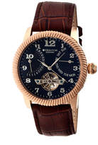 Heritor Automatic Piccard Mens Semi-Skeleton Leather Date-Rose Gold/Black Watches