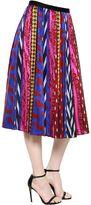 Abstract Striped Jacquard Midi Skirt